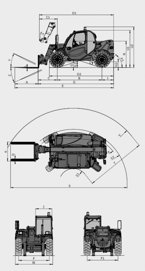 Teleskopstapler 2,50t / 5,85m Maße