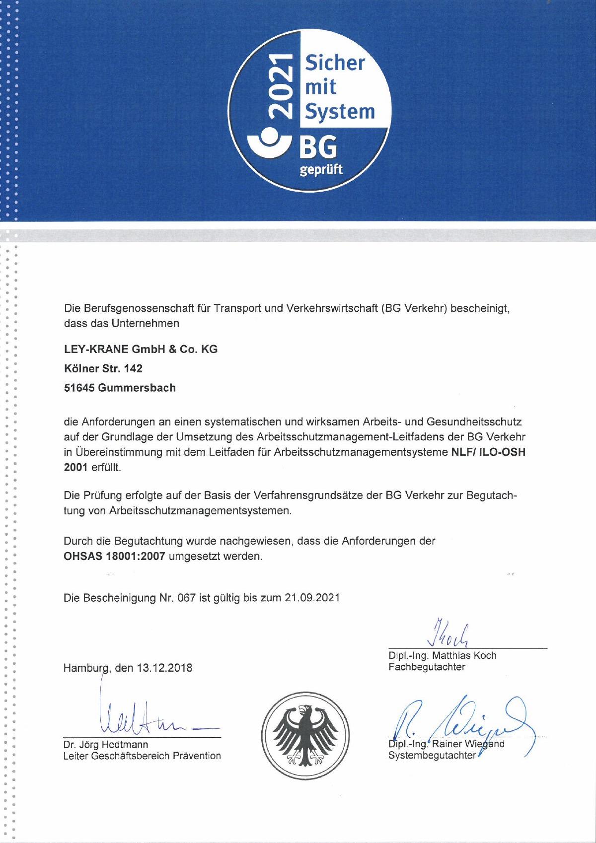 Zertifikat Ley Krane
