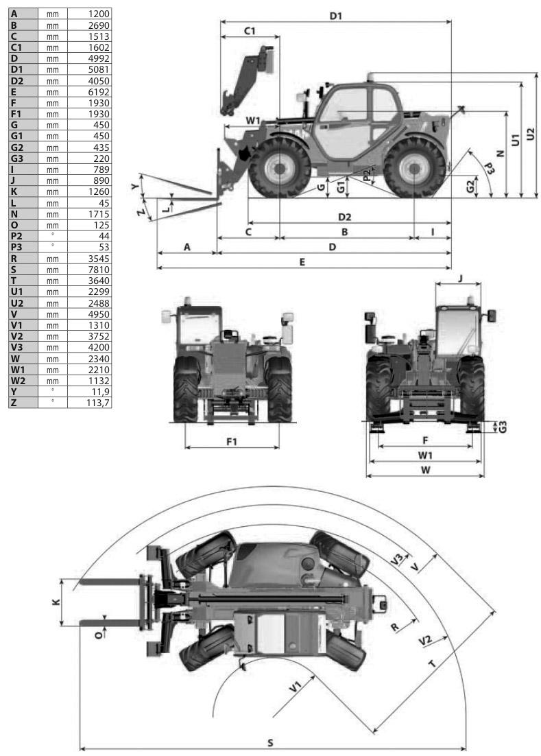Teleskopstapler 3t / 10m Maße