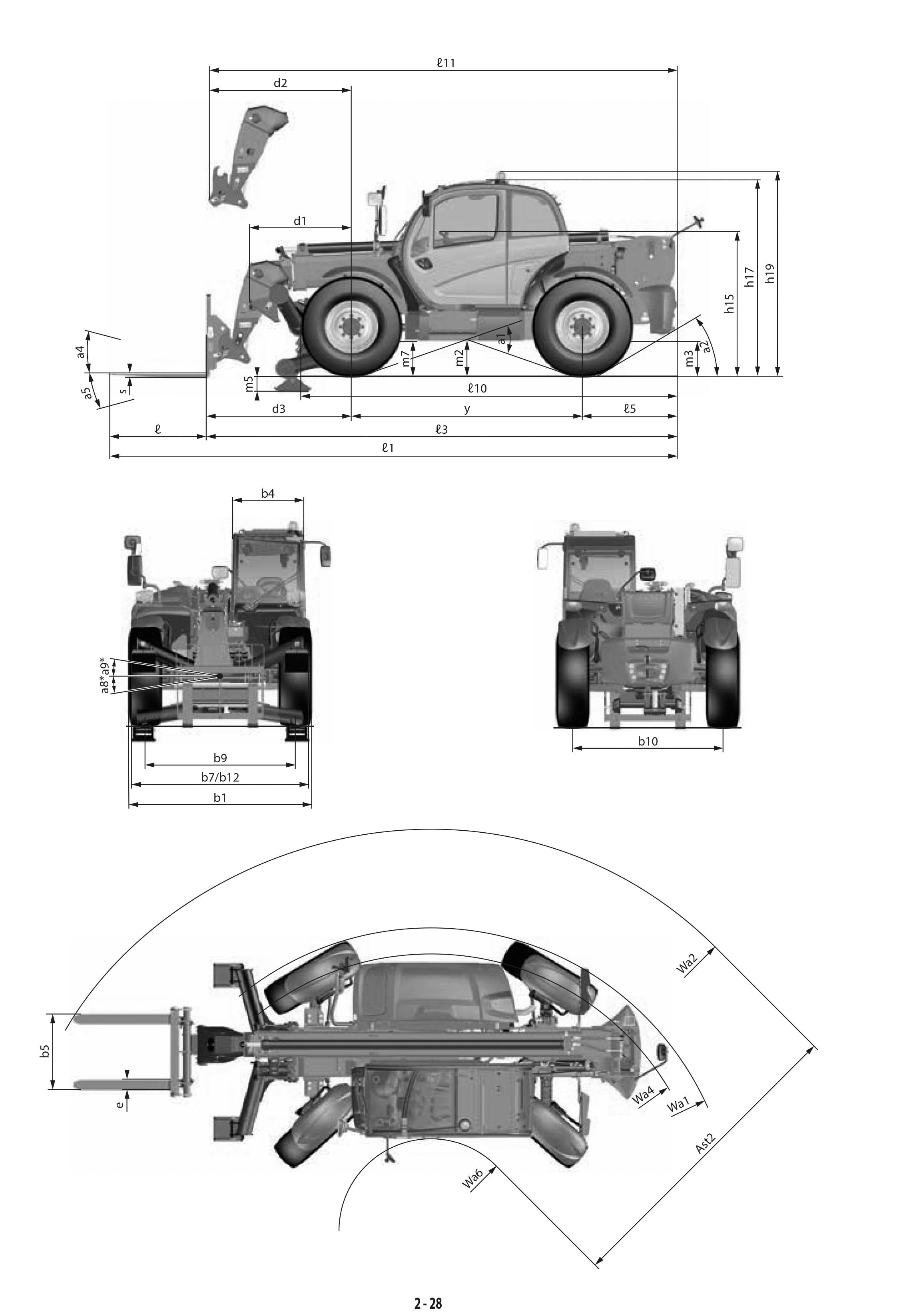 Teleskopstapler 3,5t / 13m Maße